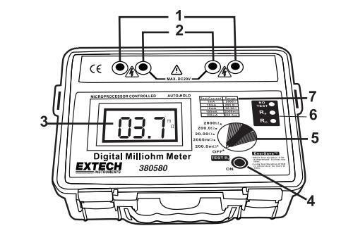 extech 380580电池供电毫欧表技术参数